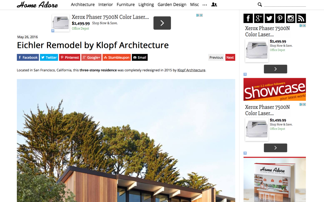 Home Adore featured our San Francisco Eichler Remodel