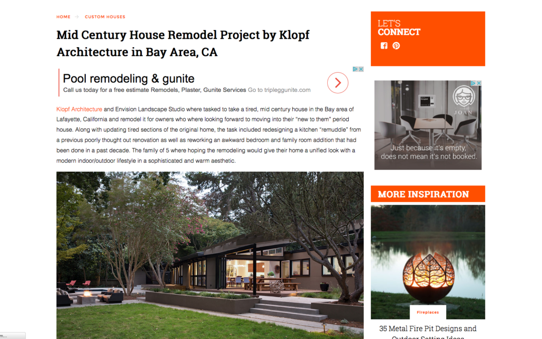 Trendir featured our Lafayette Mid Century Modern Remodel