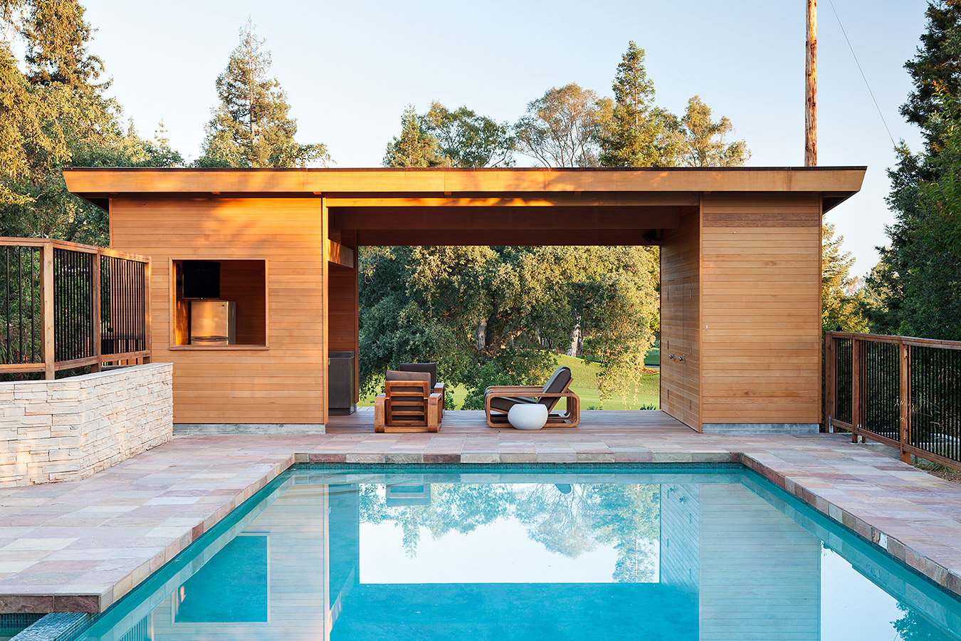 Modern pool house klopf architecture - Modern house with pool ...