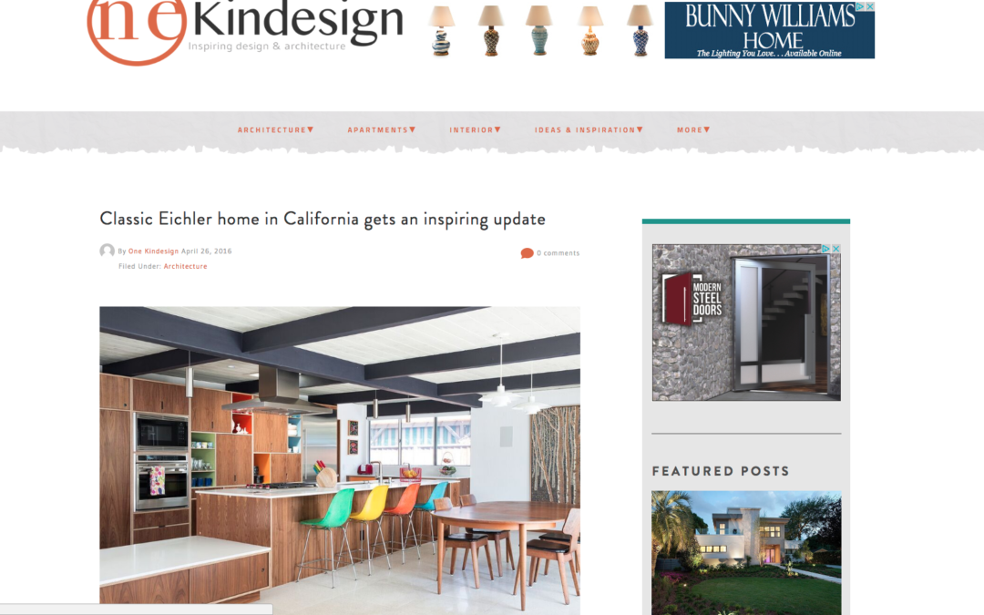 One Kind Design featured our Renewed Classic Eichler