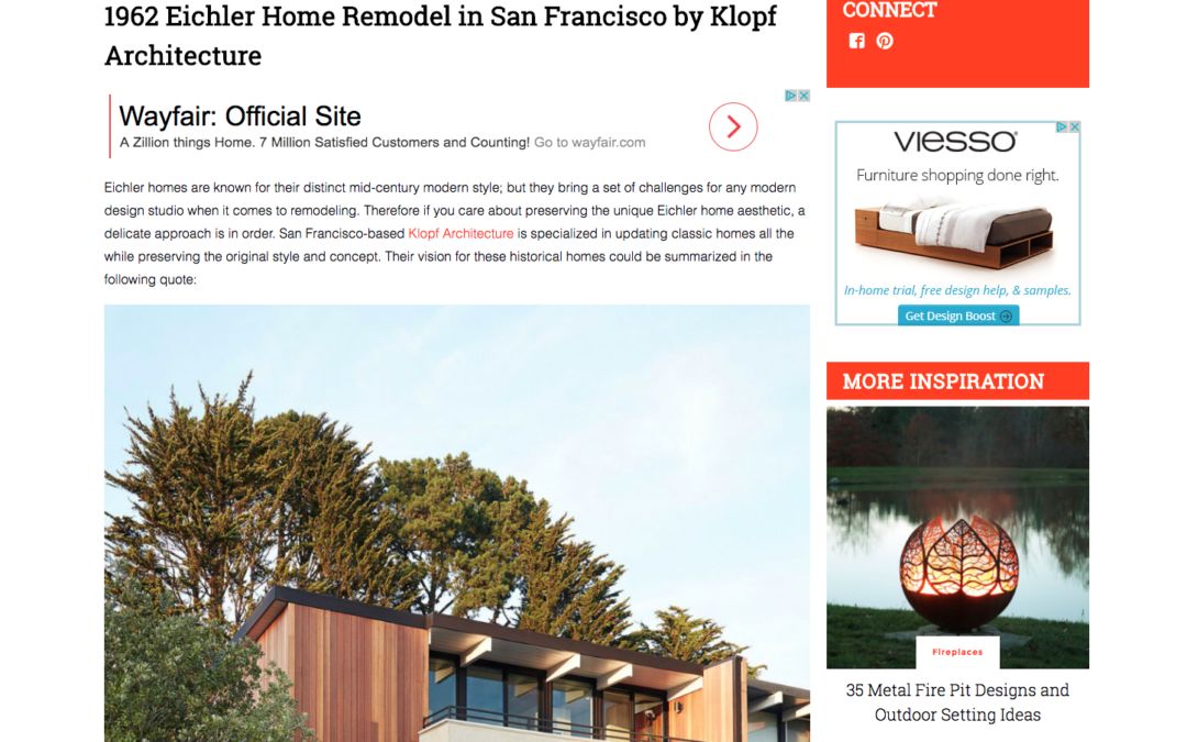Trendir featured our San Francisco Eichler Remodel