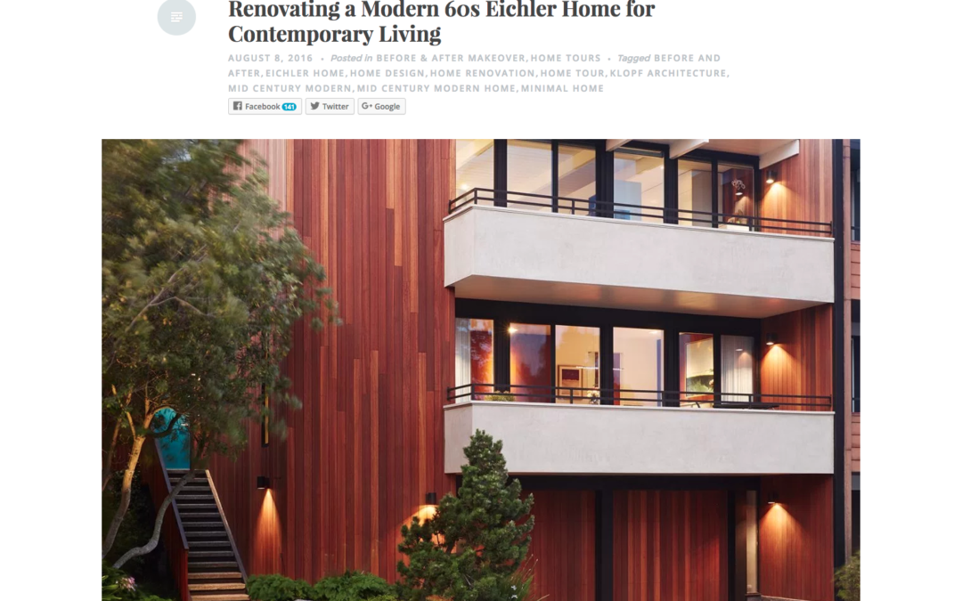 Nonagon featured our San Francisco Eichler Remodel
