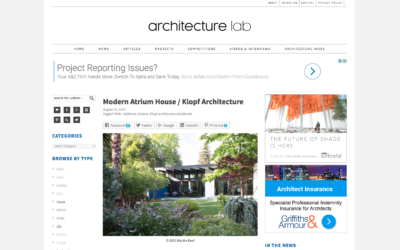 Architecture Lab featured our Modern Atrium House