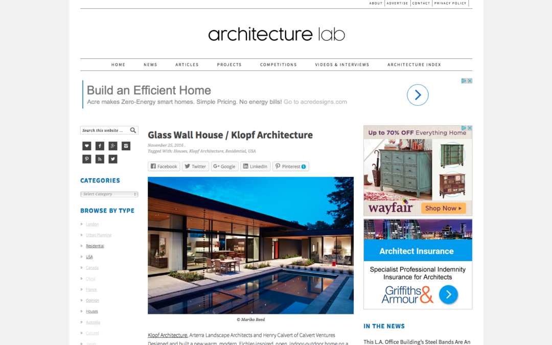 Architecture Lab features our Glass Wall House.