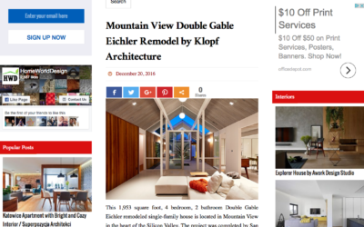 Home World Design features our Mountain View Double Gable Eichler