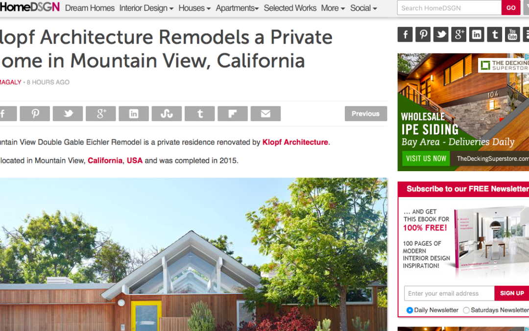 HomeDSGN features our Mountain View Double Gable Eichler