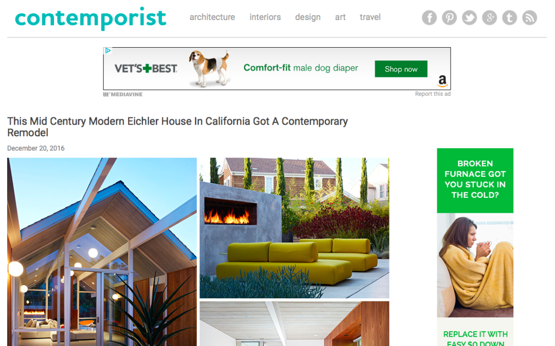 Contemporist features our Mountain View Double Gable Eichler