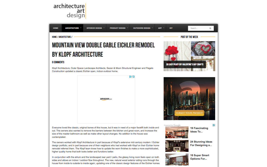 Architecture Art Design features our Mountain View Double Gable Eichler Remodel