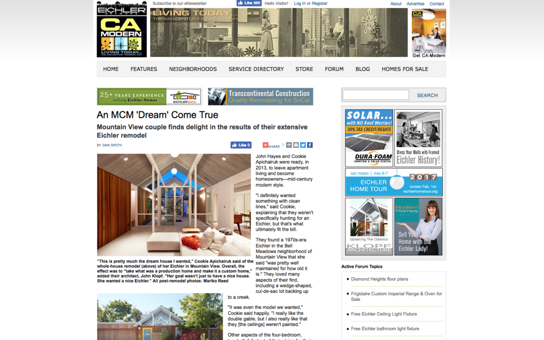 CA Modern features our Mountain View Double Gable Eichler Remodel