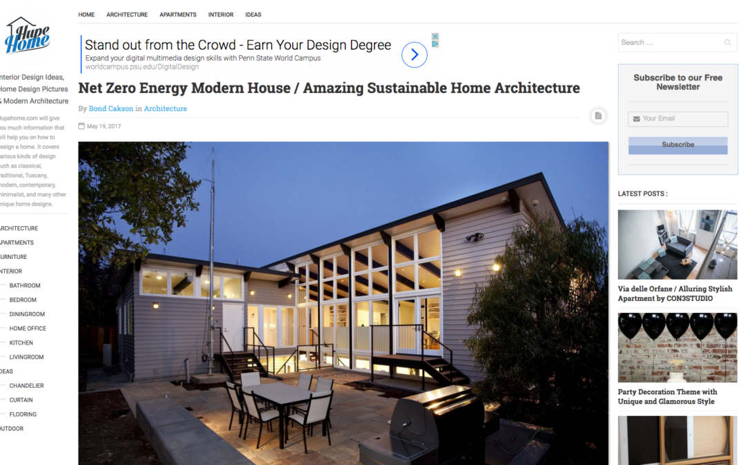Hupe Home features our Net Zero Energy House