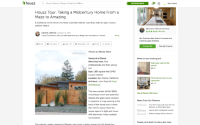 Houzz features our San Carlos Mid Century Modern Remodel