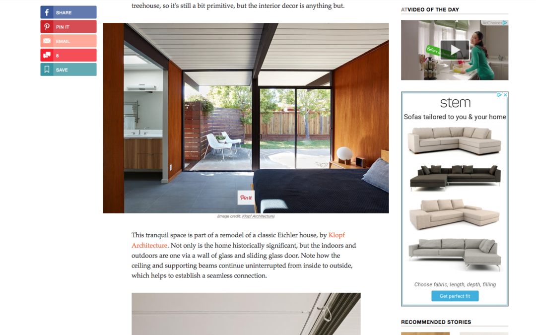 Apartment Therapy features our Mid-Mod Eichler Remodel Addition