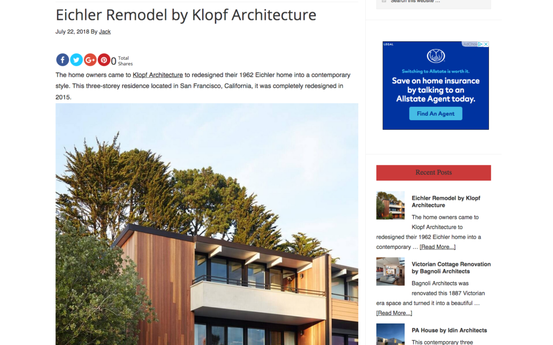 Arcidec features our San Francisco Eichler Remodel