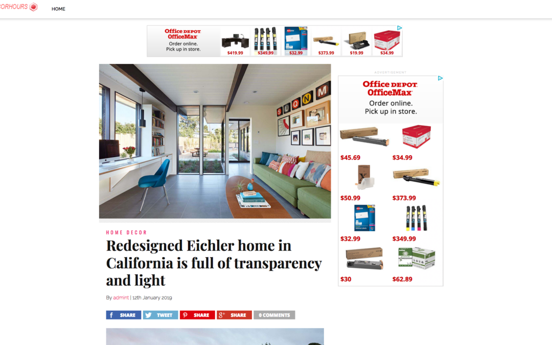Home Decor Hours features our Mid Mod Eichler Addition Remodel
