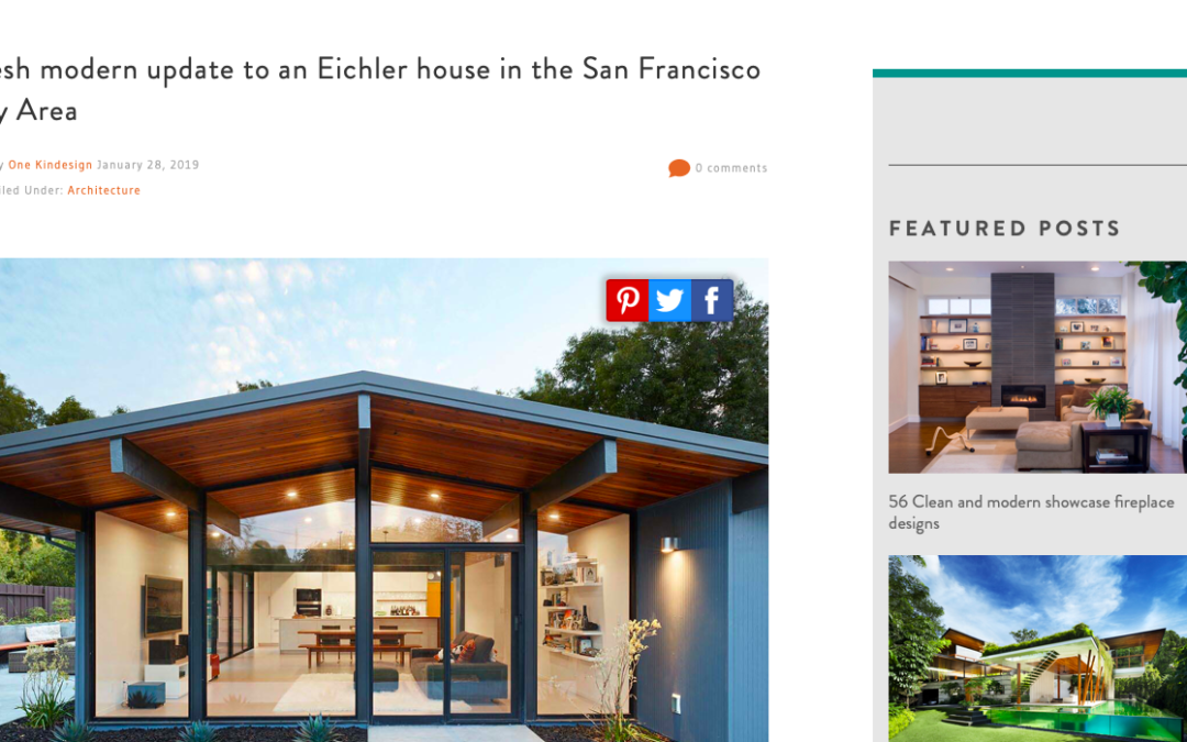 One Kindesign features our Palo Alto Eichler Remodel